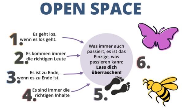 Übersicht der Regeln und Rollen beim Open Space von kollegiale-fuehrung.de