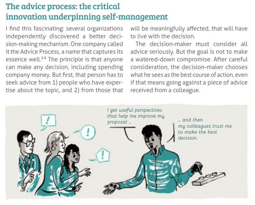 Beratende Entscheidungen wie in der Holokratie: Jedes Teammitglied darf alles selbst entscheiden, wenn es sich von den vorhanden Fachleuten hat beraten lassen und mit den Betroffenen gesprochen hat.